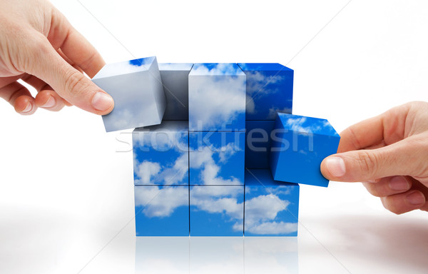 Durable développement cube puzzle ciel Photo stock © carloscastilla