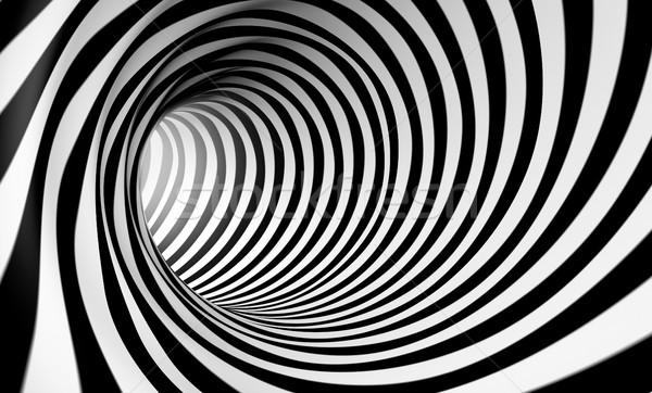 抽象的な 渦 3D スパイラル 黒白 デザイン ストックフォト © carloscastilla