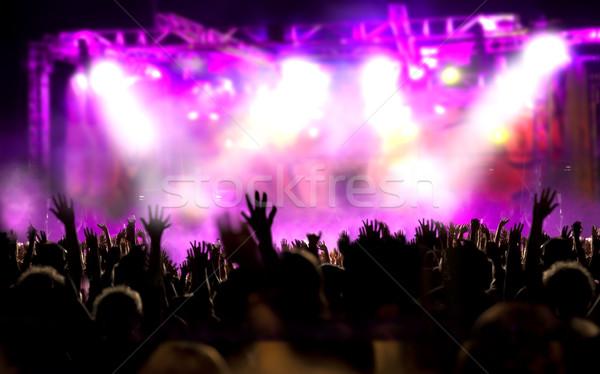 żyć muzyki pokaż publicznych dymu noc Zdjęcia stock © carloscastilla