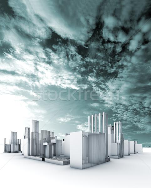 Stad blauwdruk duurzaam abstract straat technologie Stockfoto © carloscastilla