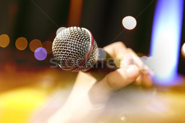 Musical zanger live muziek microfoon lichten Stockfoto © carloscastilla