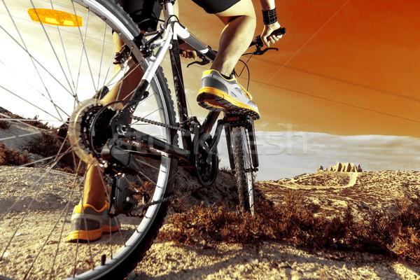 Hegy egészséges élet extrém bicikli stílus szabadtér Stock fotó © carloscastilla