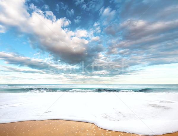сюрреалистичный морем пейзаж пляж идиллический Blue Sky Сток-фото © carloscastilla