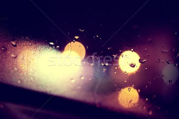 ıslak pencere şehir gece cam soyut Stok fotoğraf © carloscastilla