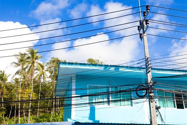 Exótico Tailandia casas cables luz diseno Foto stock © carloscastilla
