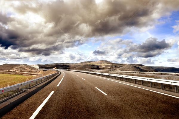 üres tájkép felhős autó aszfalt utazás Stock fotó © carloscastilla
