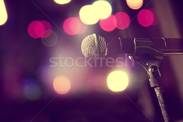 Microphone and stage lights.Concert and music concept Stock photo © carloscastilla