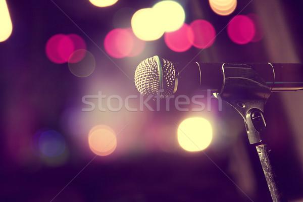 микрофона этап музыку жить фары свет Сток-фото © carloscastilla