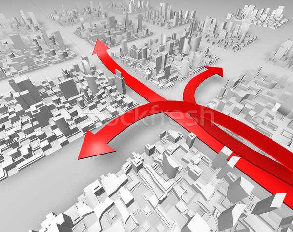 Rood pijlen drie abstract stad tonen Stockfoto © carloscastilla