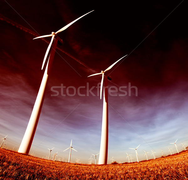 ecological energy concept .wind mills Stock photo © carloscastilla