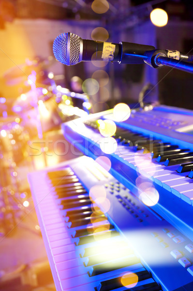 Stage lights.Abstract musical background.Playing song and concer Stock photo © carloscastilla
