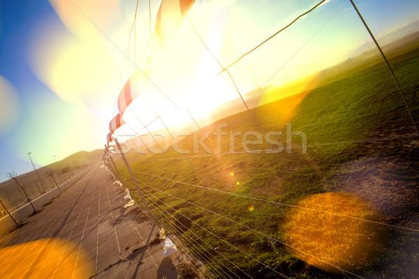 Photo stock: Résumé · nature · coucher · du · soleil · herbe · verte · lumières · ciel
