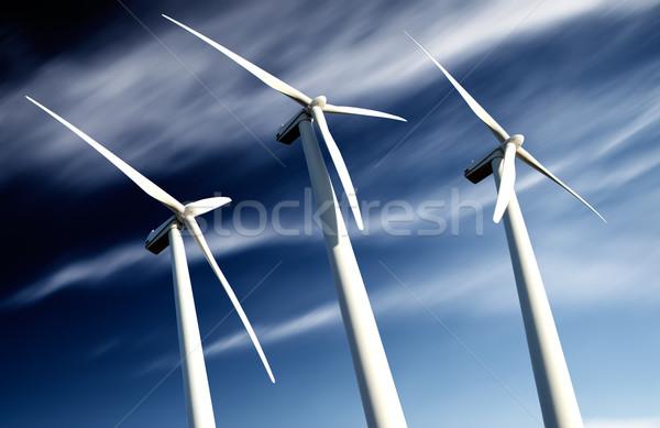 Potente ecológico energía industrial instalación viento Foto stock © carloscastilla