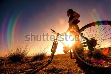 Bicikli életstílus bicikli extrém sport kaland dupla Stock fotó © carloscastilla