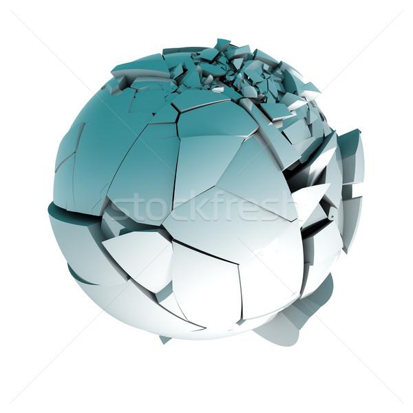 Labda törött 3d labda darabok izolált fehér Stock fotó © carloscastilla