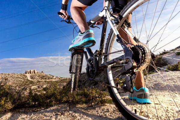 Montanha vida saudável extremo bicicleta estilo ao ar livre Foto stock © carloscastilla