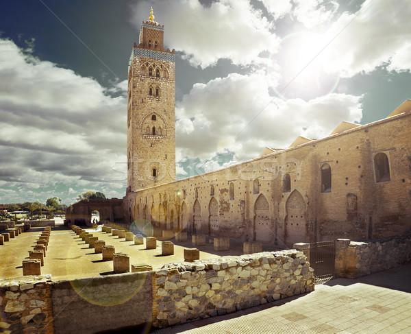 Mesquita Marrocos viajar em torno de estrada edifício Foto stock © carloscastilla