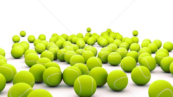 Tênis muitos bola de tênis isolado branco Foto stock © carloscastilla