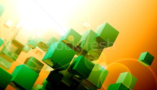 Kubus formatie business abstract technologie achtergrond Stockfoto © carloscastilla