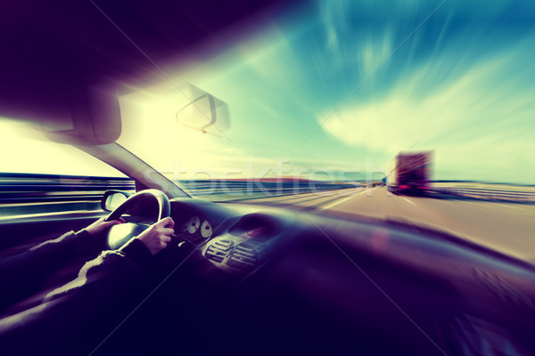 Autó sebesség bemozdulás absztrakt út autópálya Stock fotó © carloscastilla