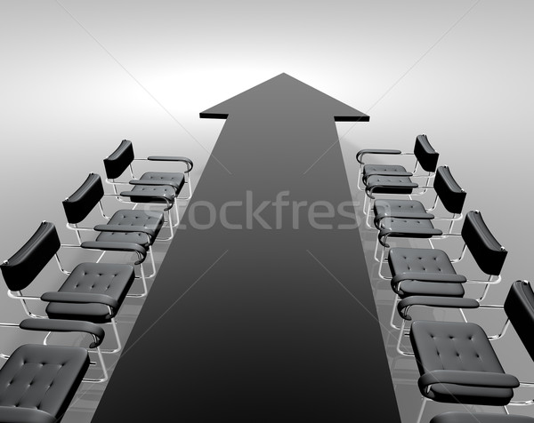 Tárgyal asztal fekete iroda megbeszélés kék Stock fotó © carloscastilla