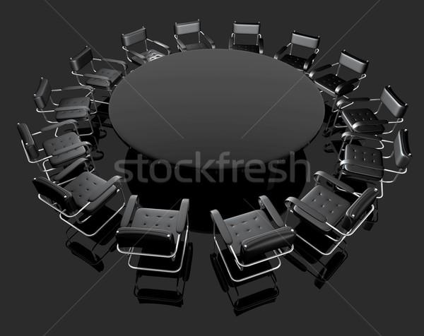 Tárgyal asztal fekete előcsarnok székek Stock fotó © carloscastilla