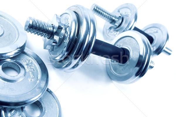 Súlyok súlyzók fitnessz egészség testmozgás erő Stock fotó © carloscastilla