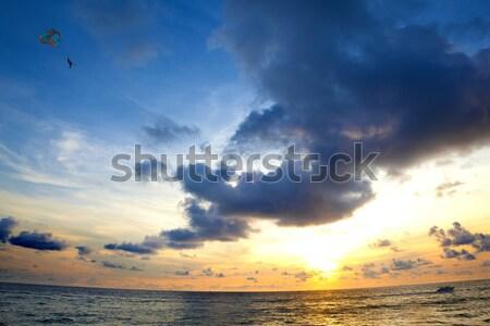 Beach sunset seascape Stock photo © carloscastilla
