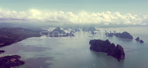 Seascape and Thailand islands from aerial view Stock photo © carloscastilla