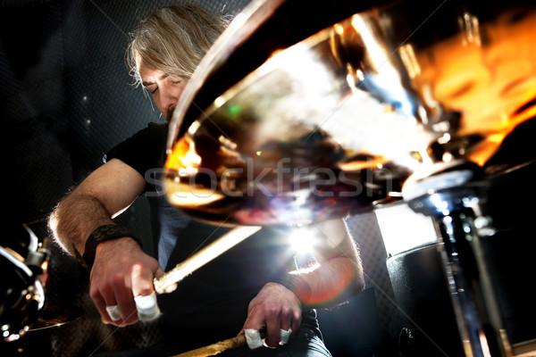 Live muziek instrument man spelen rockmuziek Stockfoto © carloscastilla