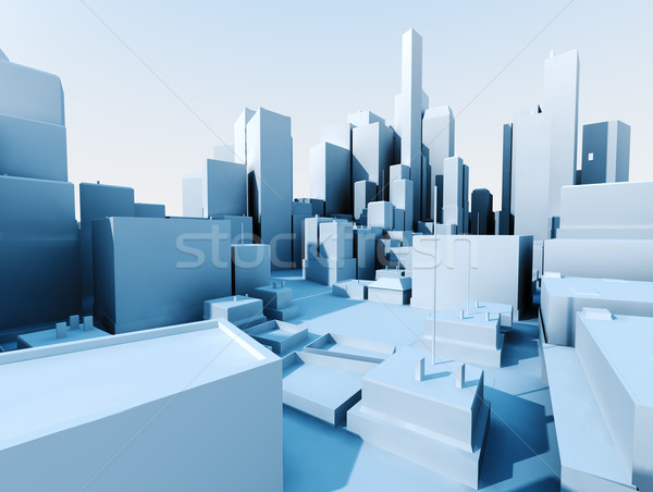 3D Cityscape görüntü şehir manzara gökdelen Stok fotoğraf © carloscastilla