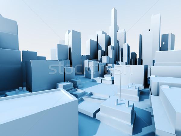 Сток-фото: 3D · Cityscape · изображение · город · пейзаж · небоскреба