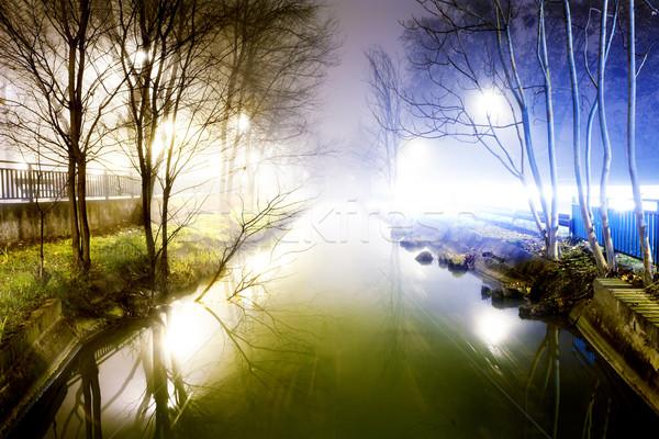 Night cityscape and water channel Stock photo © carloscastilla