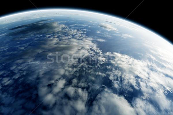 Dünya gezegeni gökyüzü harita gün batımı deniz arka plan Stok fotoğraf © carloscastilla