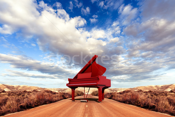 Musique piano route nature paysage art Photo stock © carloscastilla