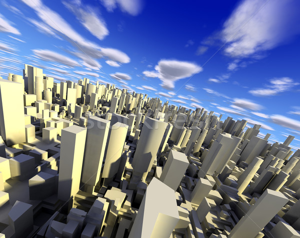 3D paisaje urbano ciudad edificios cielo azul Foto stock © carloscastilla