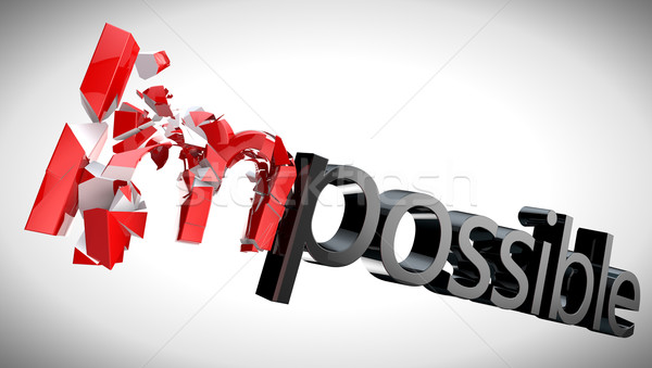 Onmogelijk tekst geïsoleerd witte zakenman onderwijs Stockfoto © carloscastilla