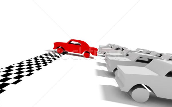 Autó 3D kép versenyautó piros Stock fotó © carloscastilla