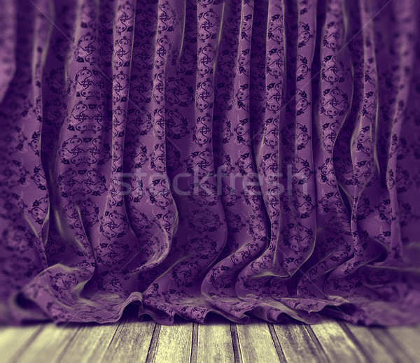 Viola floreale tende retro pavimento in legno abstract Foto d'archivio © carloscastilla