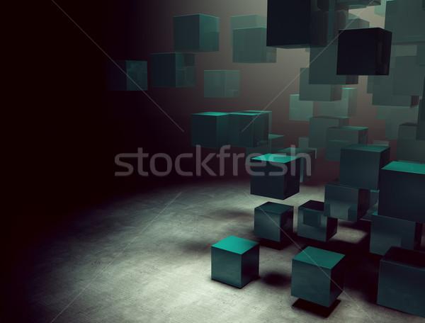 Cuburi 3D întuneric interior abstract tehnologie Imagine de stoc © carloscastilla