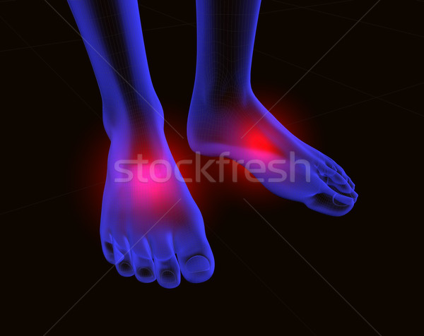Ayaklar ağrı 3D görüntü kırmızı ayak Stok fotoğraf © carloscastilla