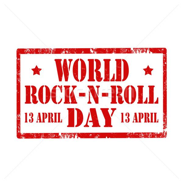 World Rock-N-Roll Day-stamp Stock photo © carmen2011