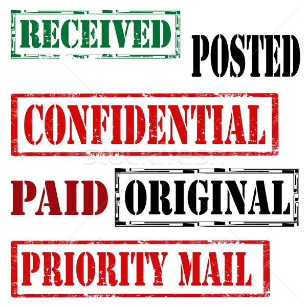 Szett bélyegek grunge gumi szöveg prioritás Stock fotó © carmen2011