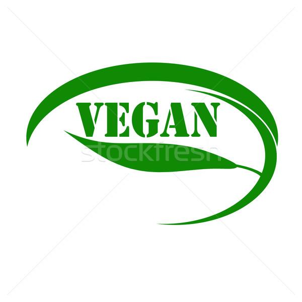 Vegan zöld bélyeg szöveg felirat eszik Stock fotó © carmen2011
