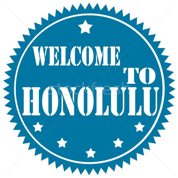 üdvözlet Honolulu kék címke szöveg Amerika Stock fotó © carmen2011
