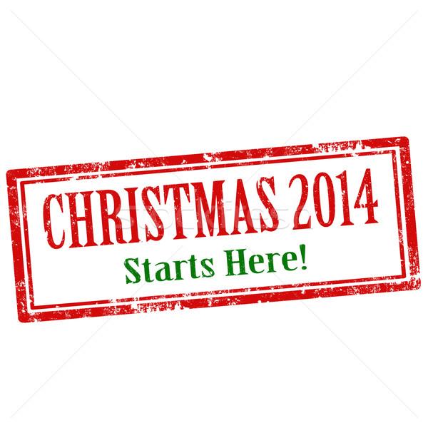 Karácsony grunge pecsét szöveg piros gumi Stock fotó © carmen2011