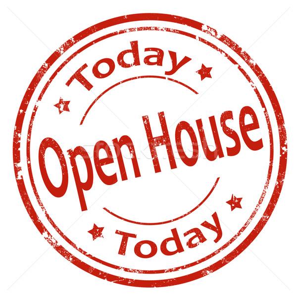 Otwarte domu dzisiaj grunge tekst Zdjęcia stock © carmen2011