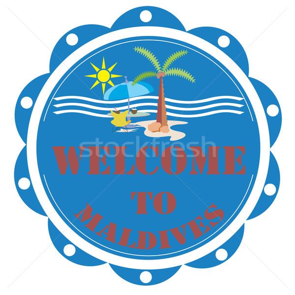 Benvenuto Maldive etichetta testo sole blu Foto d'archivio © carmen2011