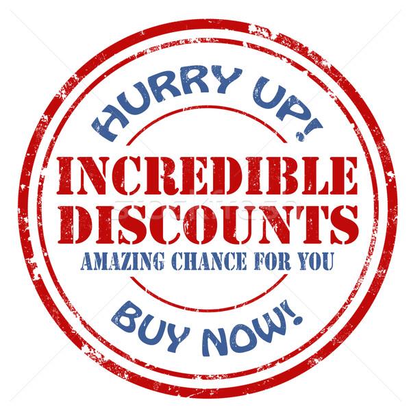 Hihetetlen árengedmény grunge pecsét szöveg felirat Stock fotó © carmen2011