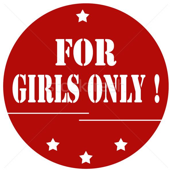 Lányok piros bélyeg szöveg női ikon Stock fotó © carmen2011
